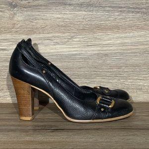 Franco Sarto Black Leather Heels Sz-7.5